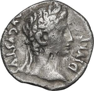 obverse: Augustus (27 BC - 14 AD).AR Denarius, Lugdunum mint. Struck 8-7 BC