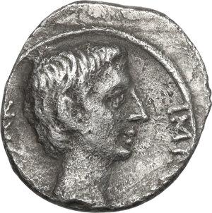 obverse: Augustus (27 BC - 14 AD).AR Quinarius, uncertain Italian or Ephesus mint, 29-28 BC