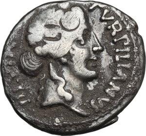 obverse: Augustus (27 BC - 14 A.D.).AR Denarius, P. Petronius Turpilianus moneyer, 18 BC