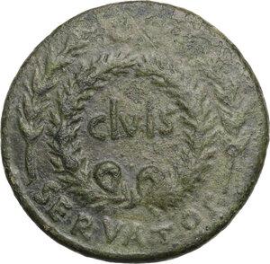obverse: Augustus (27 B.C - 14 AD).Æ Sestertius, P. Licinius Stolo, moneyer, 17 BC