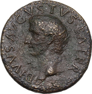 obverse: Augustus (Divus, after 14 AD).AE Dupondius, struck under Tiberius, 22-26 AD