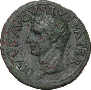 obverse: Divus Augustus (died 14 AD).AE As. Struck under Tiberius, c. 22-30 AD