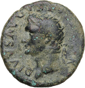 obverse: Divus Augustus (died 14 AD).AE As, struck under Titus, 80-81 AD