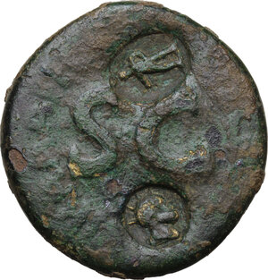reverse: Augustus (27 BC - 14 AD). AE Sestertius, countermarked during the reign of Tiberius (14-37 AD). Syracuse mint (?)