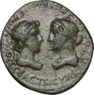 obverse: Tiberius with Livia (14-37).AE 21mm. Smyrna mint, Ionia. Hieronymos and Petronios, magistrates