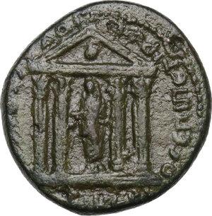 reverse: Tiberius with Livia (14-37).AE 21mm. Smyrna mint, Ionia. Hieronymos and Petronios, magistrates