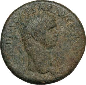 obverse: Claudius (41-54).AE Sestertius, struck 42-43 AD, countermarked under Nero