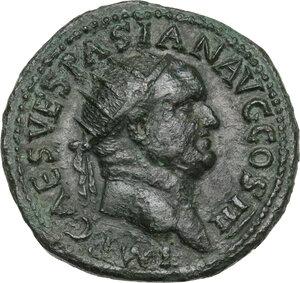 obverse: Vespasian (69-79 AD).AE Dupondius