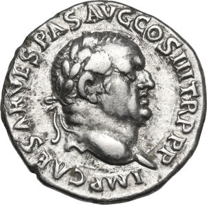 obverse: Vespasian (69-79) . AR Denarius. Ephesus mint. Struck 77-78 AD