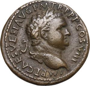"""obverse: Titus (79-81).AE Cast """"Sestertius"""". Paduan type"""