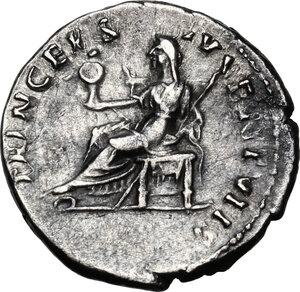 reverse: Domitian as Caesar (69-81).AR Denarius, 80 AD