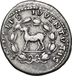 reverse: Domitian as Caesar (69-81).AR Denarius. Struck under Titus, 80-81 AD