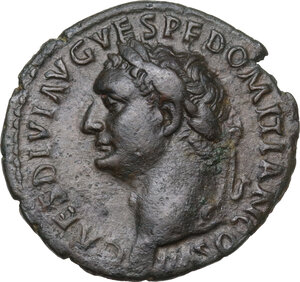 obverse: Domitian as Caesar (69-79).AE As, Rome mint, struck under Titus, 80-81 AD