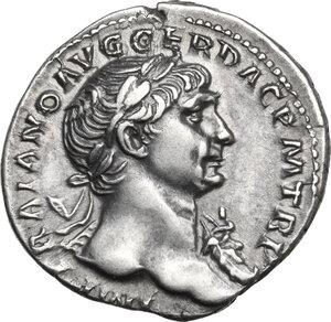 obverse: Trajan (98-117 AD).AR Denarius, Rome mint,107-111 AD