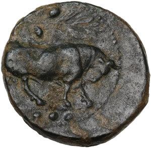 obverse: Gela. AE Tetras or Trionkion, c. 420-405 BC