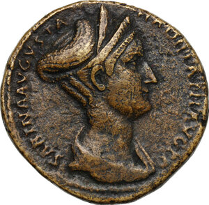 obverse: Sabina, wife of Hadrian (died 137 AD).AE Sestertius, Rome mint