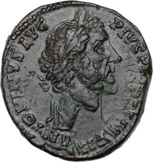 obverse: Antoninus Pius (138-161).AE Sestertius, 155-156 AD