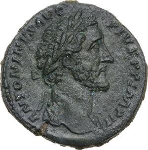 obverse: Antoninus Pius (138-161).AE Sestertius, 156-157 AD