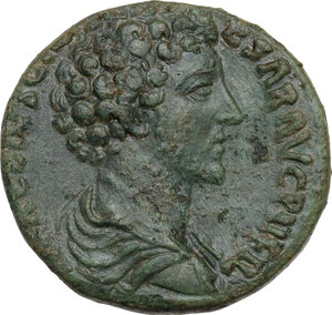 obverse: Marcus Aurelius as Caesar (139-161).AE Sestertius, 153-154 AD