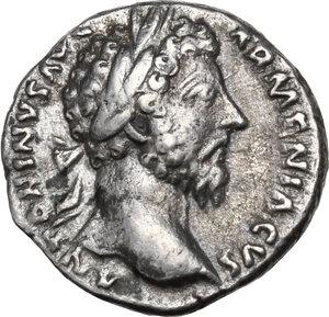obverse: Marcus Aurelius (161-180).AR Denarius, 164-165 AD