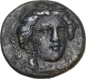 obverse: Gela. AE 14 mm. c. 339-310 BC