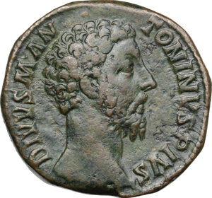 obverse: Marcus Aurelius (Divus, died 180 AD).AE Sestertius, struck under Commodus, 180 AD