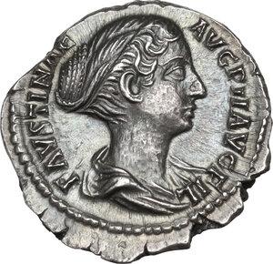 obverse: Faustina II, wife of Marcus Aurelius (died 176 AD).AR Denarius, struck under Antoninus Pius, 147-150 AD