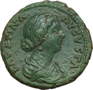 obverse: Faustina II, wife of Marcus Aurelius (died 176 AD).AE As, struck under Marcus Aurelius