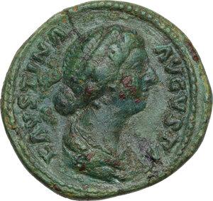 obverse: Faustina II, wife of Marcus Aurelius (died 176 AD).AE Dupondius, struck under Marcus Aurelius