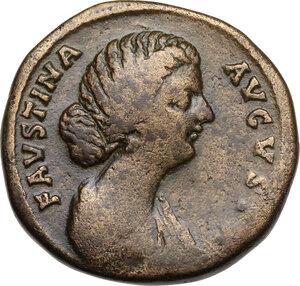 obverse: Faustina II, wife of Marcus Aurelius (died 176 AD).AE Sestertius, struck under Marcus Aurelius