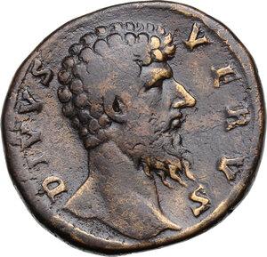 obverse: Lucius Verus (Divus, after 169 AD).AE Sestertius, struck under Marcus Aurelius