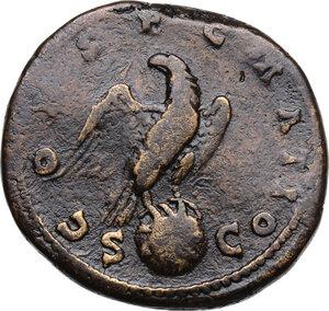 reverse: Lucius Verus (Divus, after 169 AD).AE Sestertius, struck under Marcus Aurelius