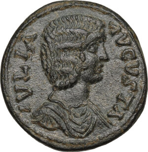 obverse: Julia Domna, wife of Septimius Severus (died 217 AD.).AE 24mm. Antioch mint, Pisidia