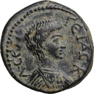 obverse: Geta as Caesar (198-209).AE 22.5 mm. Hadrianopolis-Sebaste mint, Phrygia. Poteitos, archon