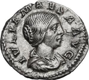 obverse: Julia Maesa, sister of Julia Domna (died 225 AD).AR Denarius, struck under Elagabalus, 218-220 AD