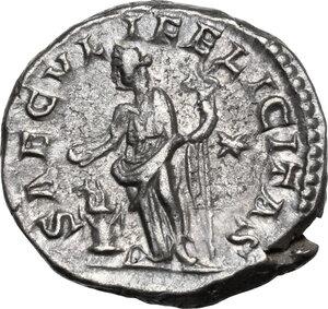 reverse: Julia Maesa, sister of Julia Domna (died 224 AD).AR Denarius, struck under Elagabalus