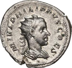 obverse: Philip II as Caesar (244-246).AR Antoninianus, Rome mint