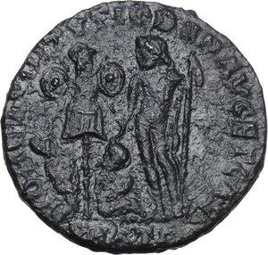 reverse: Licinius I with Licinius II Caesar (308-324).AE Follis, Heraclea mint, 320-321 AD