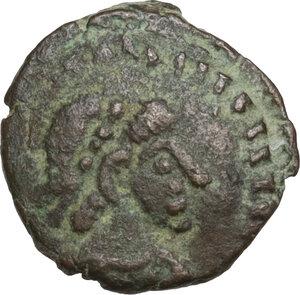 obverse: Temp. Theodosius I, last quarter 4th century BC.Barbarous AE 11 mm. imitating Theodosius I