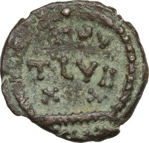 reverse: Temp. Theodosius I, last quarter 4th century BC.Barbarous AE 11 mm. imitating Theodosius I