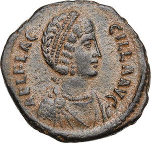 obverse: Aelia Flaccilla, first wife of Theodosius I (died 386 AD).AE 24mm, Antioch mint, 383-388