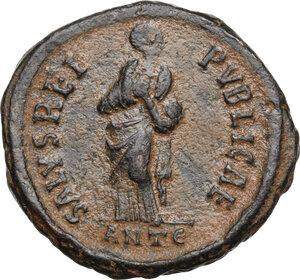 reverse: Aelia Flaccilla, first wife of Theodosius I (died 386 AD).AE 24mm, Antioch mint, 383-388