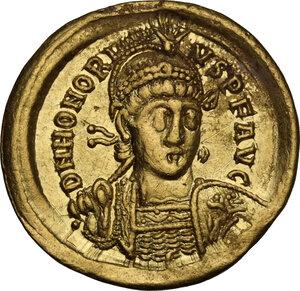 obverse: Honorius (393-423).AV Solidus. Constantinople mint, 6th officina, 408-420 AD