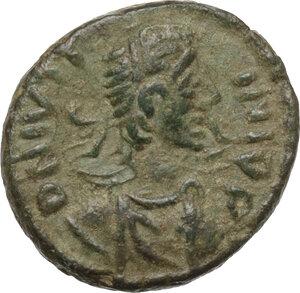 obverse: Justin I (518-527).AE Pentanummium, Ravenna mint