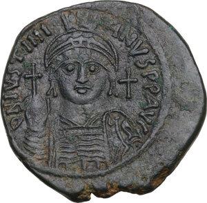 obverse: Justinian I (527-565).AE Follis, Nicomedia mint, RY 18 (544/5 AD)