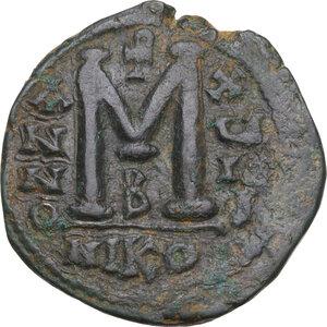reverse: Justinian I (527-565).AE Follis, Nicomedia mint, RY 18 (544/5 AD)