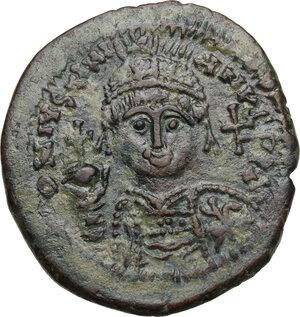obverse: Justinian I (527-565).AE Follis, Cyzicus mint, RY 24 (550/1 AD)