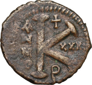 reverse: Justinian I (527-565).AE Half Follis, Theoupolis (Antioch) mint, RY 31 (557/8 AD)