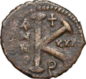 reverse: Justinian I (527-565).AE Half Follis, Theoupolis (Antioch) mint, RY 31 (557/8 AD)