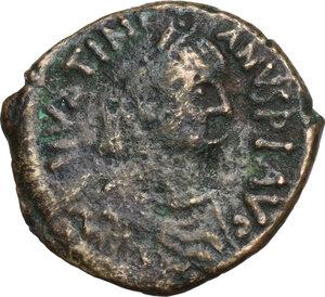 obverse: Justinian I (527-565).AE Decanummium, Rome mint